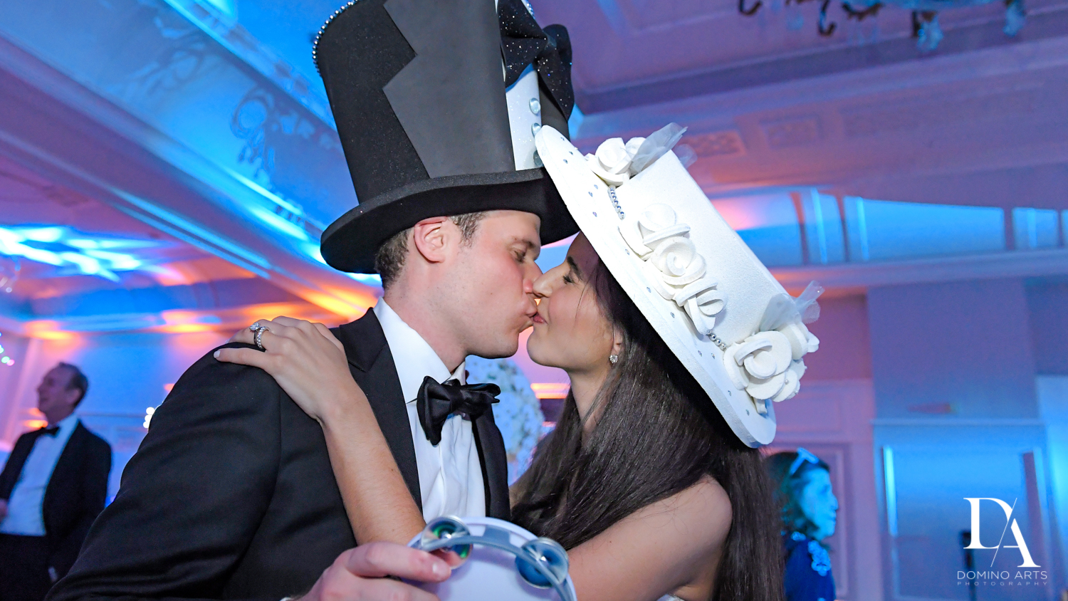 best fun crazy party hats for A Ritz Carlton Wedding in Key Biscayne by Domino Arts Photography