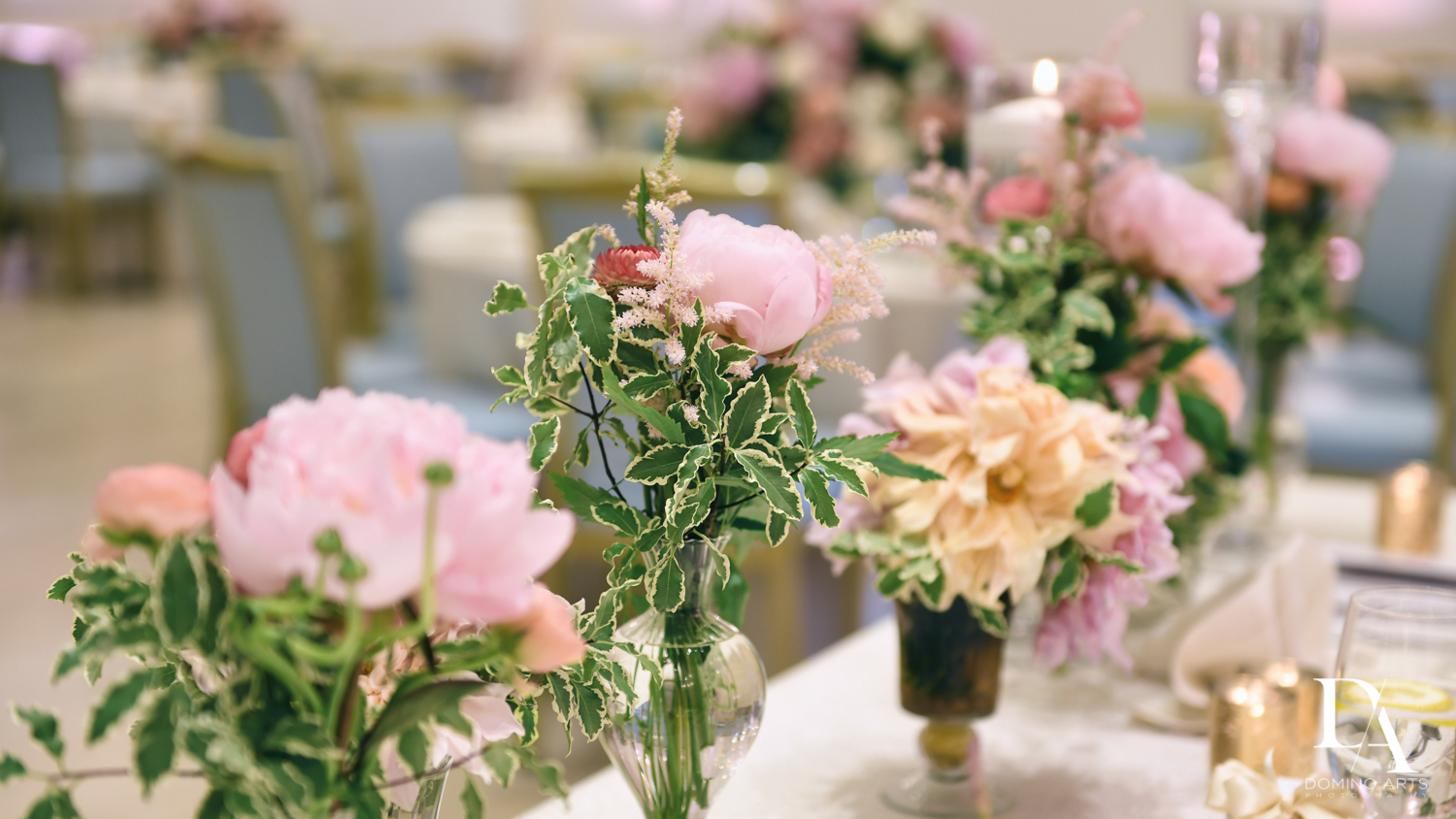 Floral decor at Jewish Orthodox Wedding in Palm Beach by Domino Arts Photography