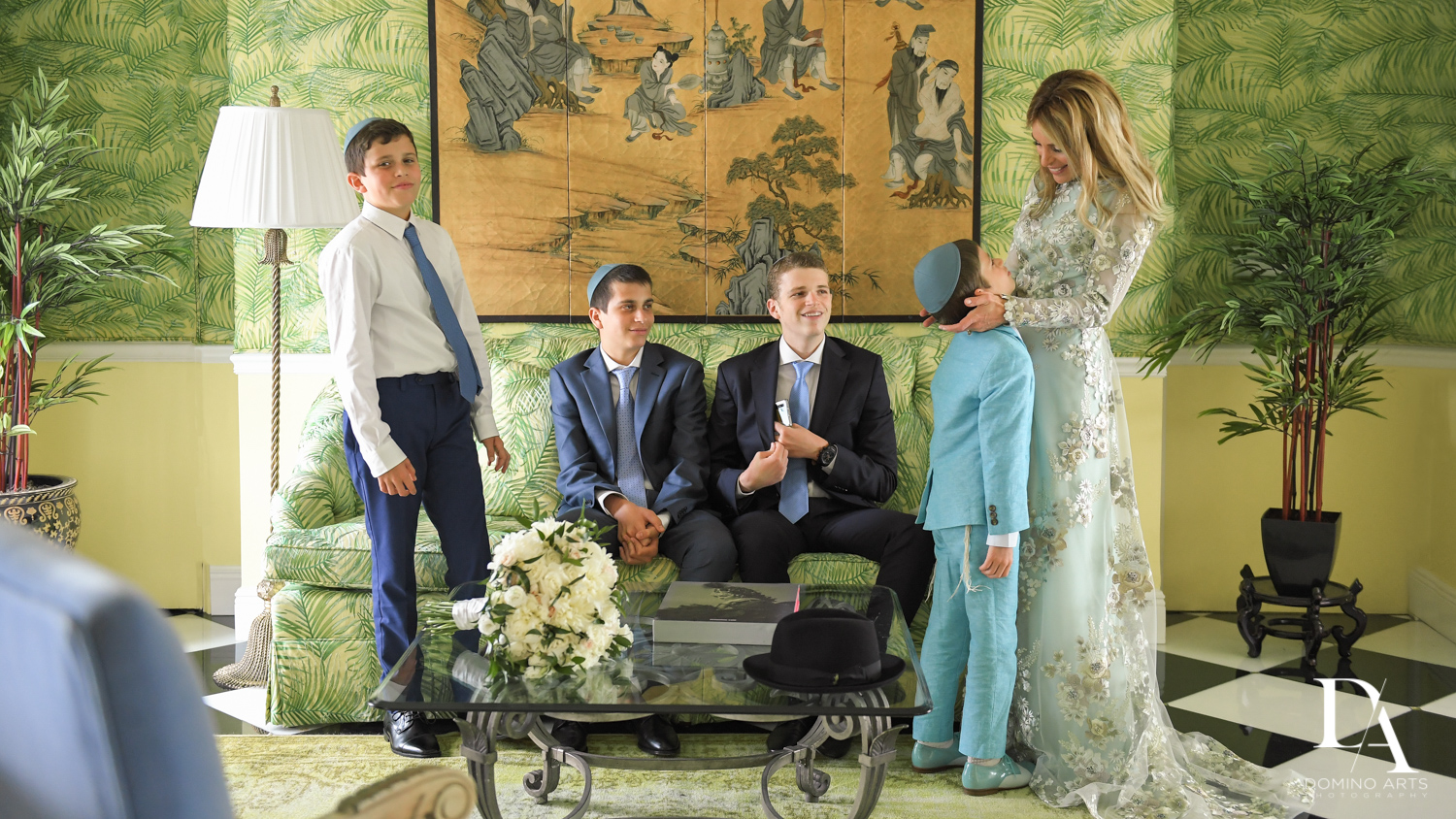 traditional family at Jewish Orthodox Wedding in Palm Beach by Domino Arts Photography