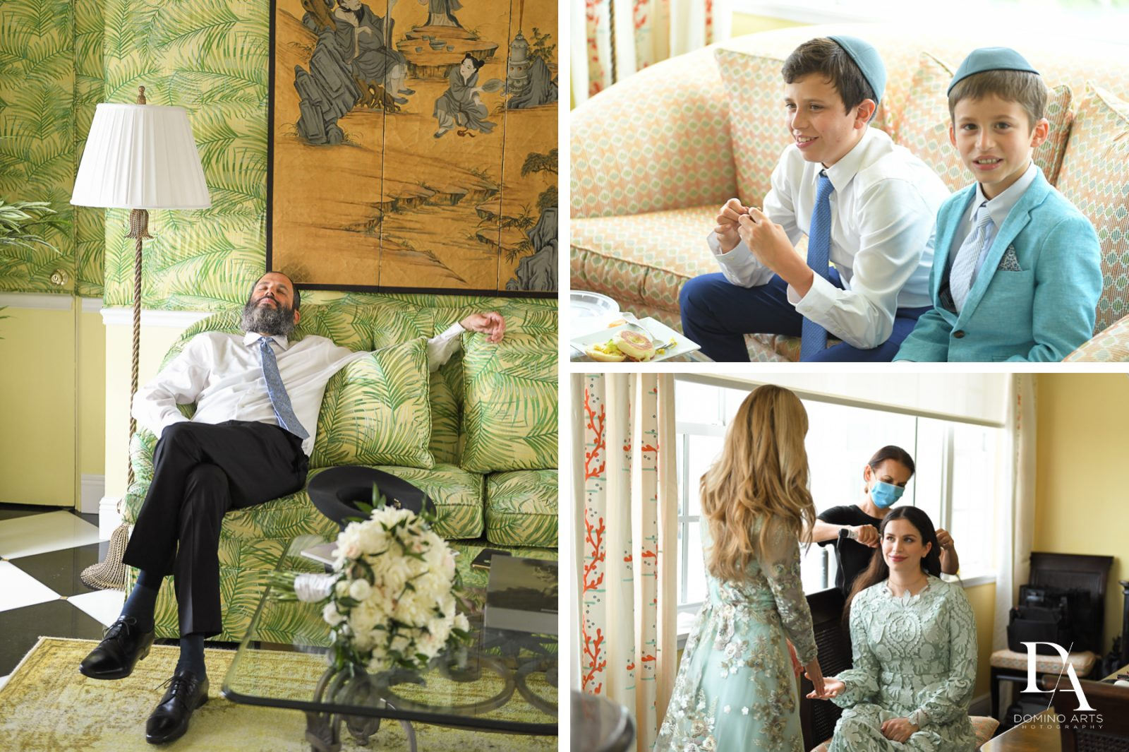 getting ready for Jewish Orthodox Wedding in Palm Beach by Domino Arts Photography