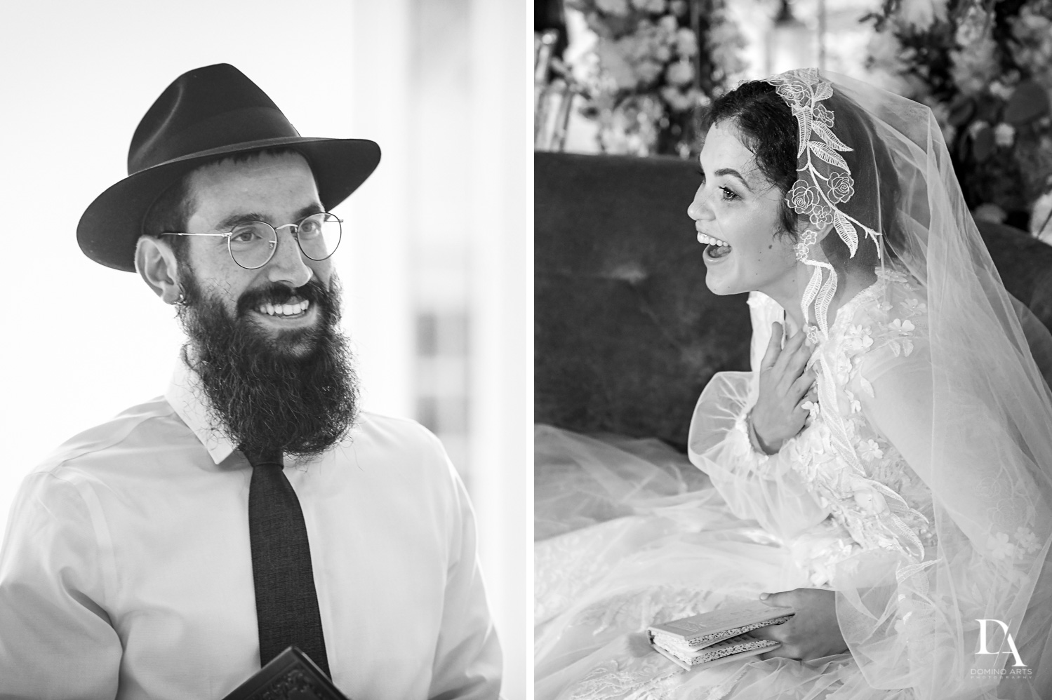 B&W photojournalism at Jewish Orthodox Wedding in Palm Beach by Domino Arts Photography