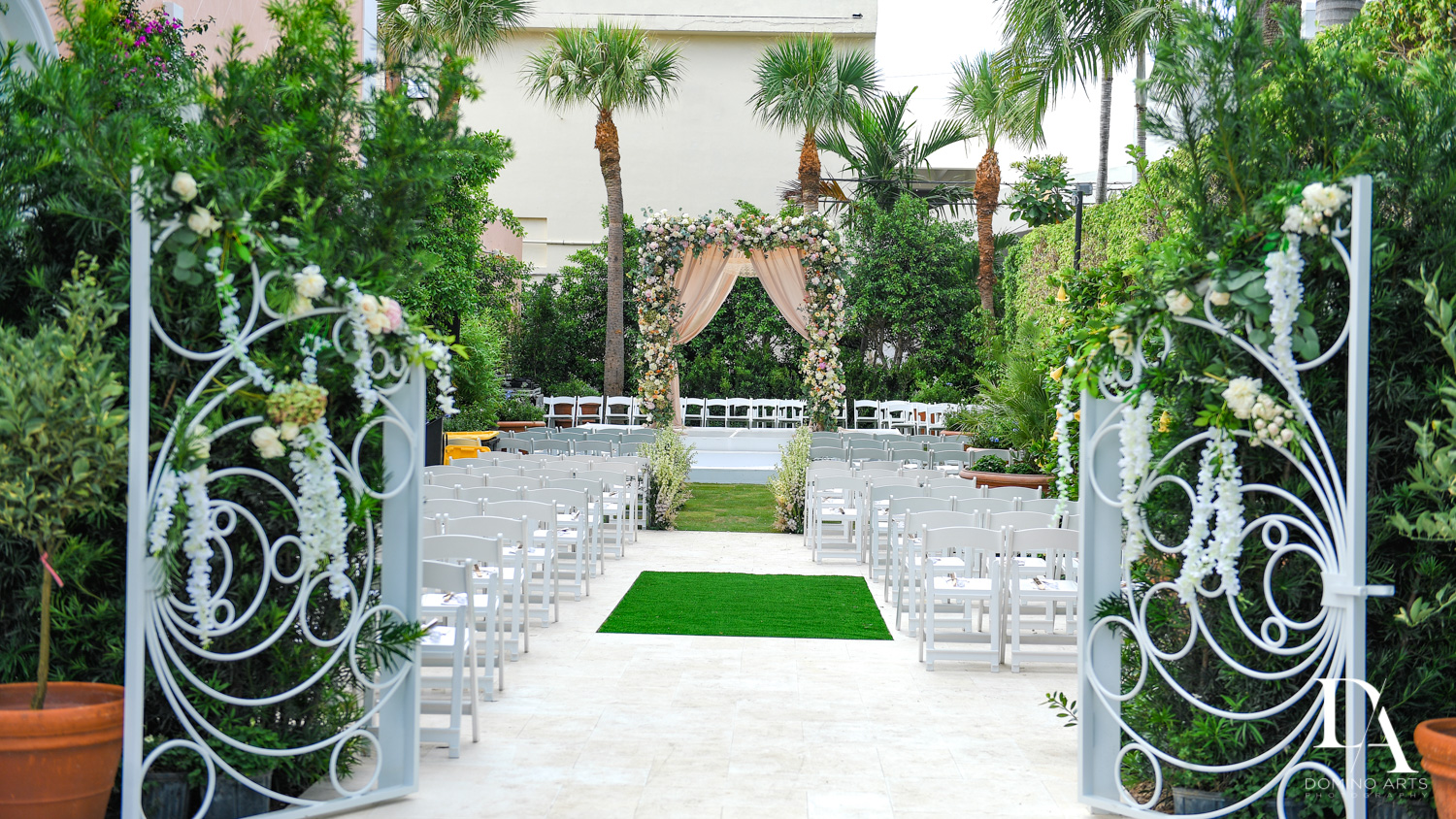 best outdoor decor at Jewish Orthodox Wedding in Palm Beach by Domino Arts Photography