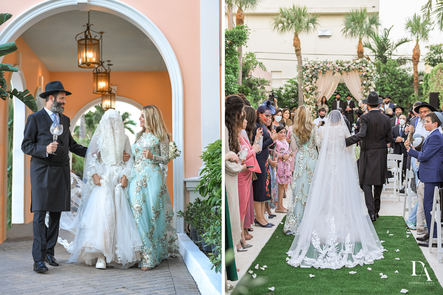 bride procession at Jewish Orthodox Wedding in Palm Beach by Domino Arts Photography