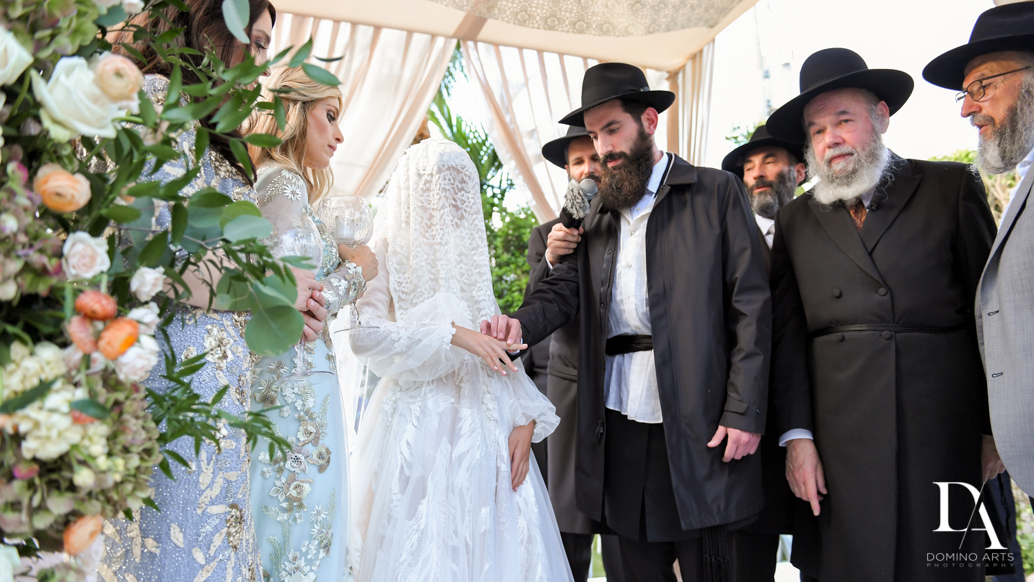 bride and groom at Jewish Orthodox Wedding in Palm Beach by Domino Arts Photography
