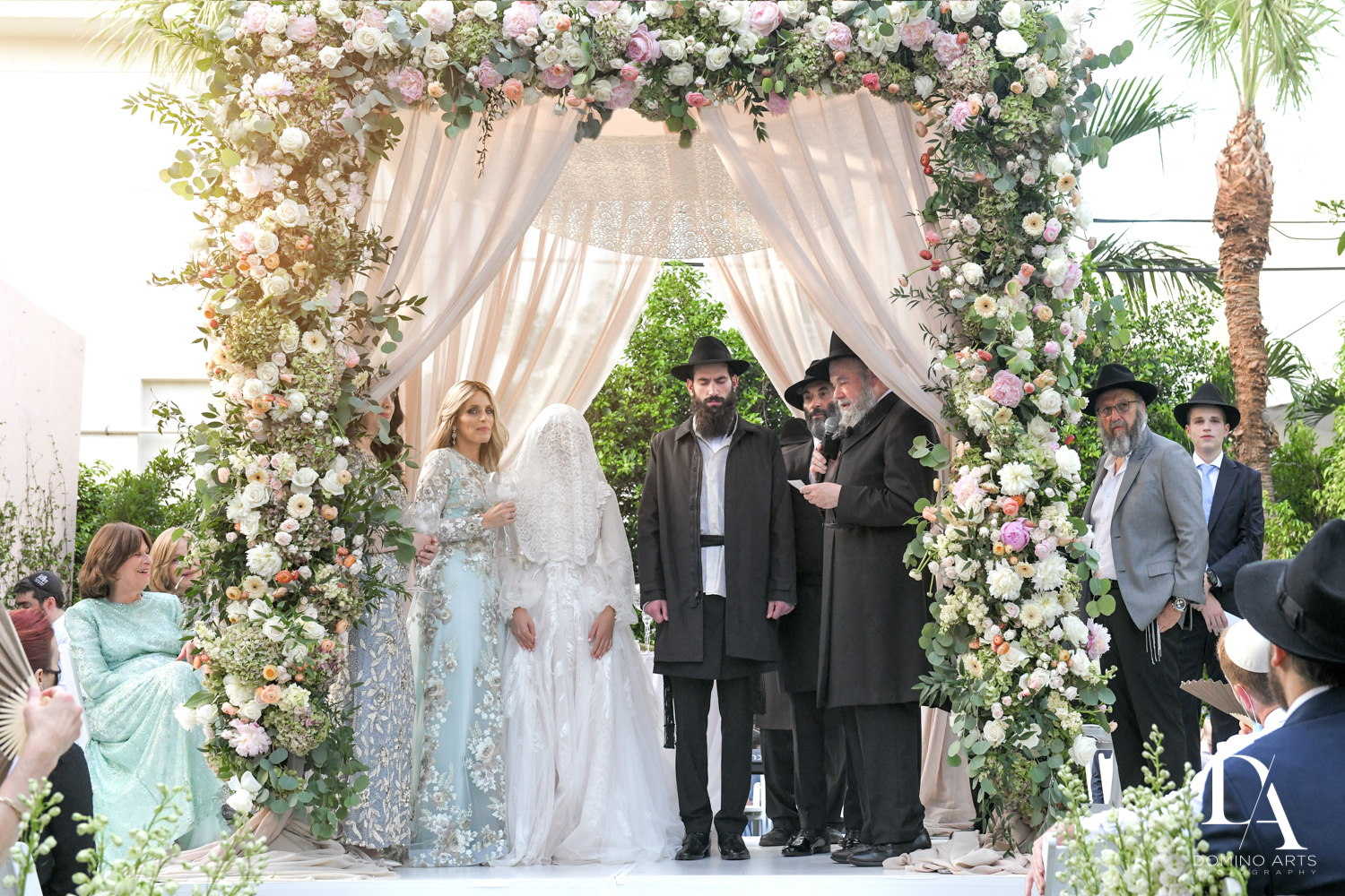 best flower chuppah at Jewish Orthodox Wedding in Palm Beach by Domino Arts Photography