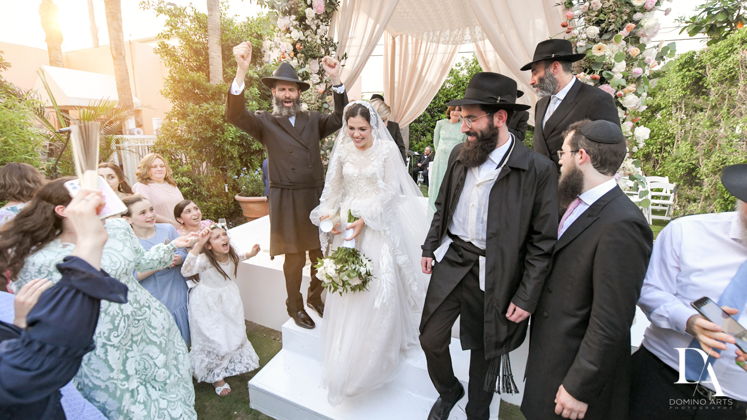 Just Married at Jewish Orthodox Wedding in Palm Beach by Domino Arts Photography