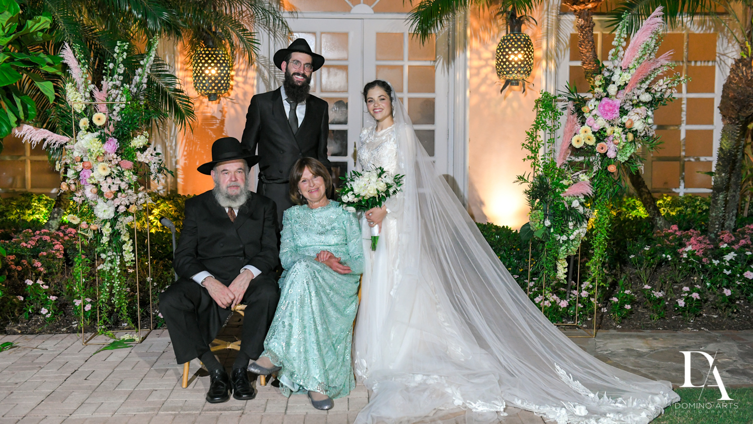 classic family portraits at Jewish Orthodox Wedding in Palm Beach by Domino Arts Photography