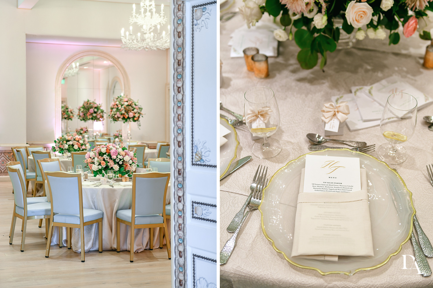 best table setting for Jewish Orthodox Wedding in Palm Beach by Domino Arts Photography