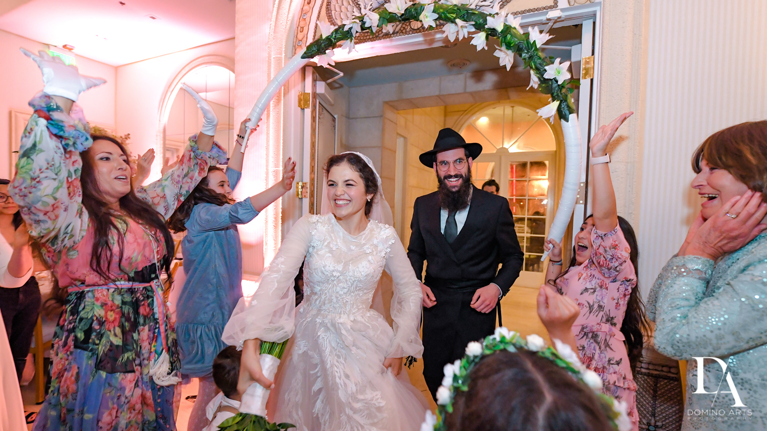 bride and groom entrance at Jewish Orthodox Wedding in Palm Beach by Domino Arts Photography