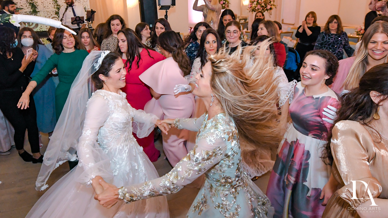 traditional dancing at Jewish Orthodox Wedding in Palm Beach by Domino Arts Photography