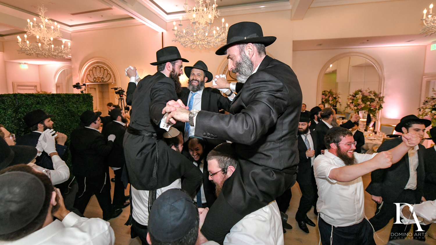 men hora at Jewish Orthodox Wedding in Palm Beach by Domino Arts Photography