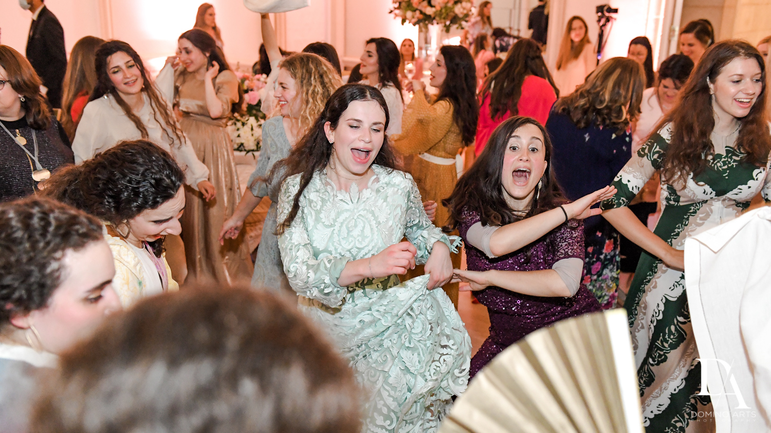 women dancing at Jewish Orthodox Wedding in Palm Beach by Domino Arts Photography