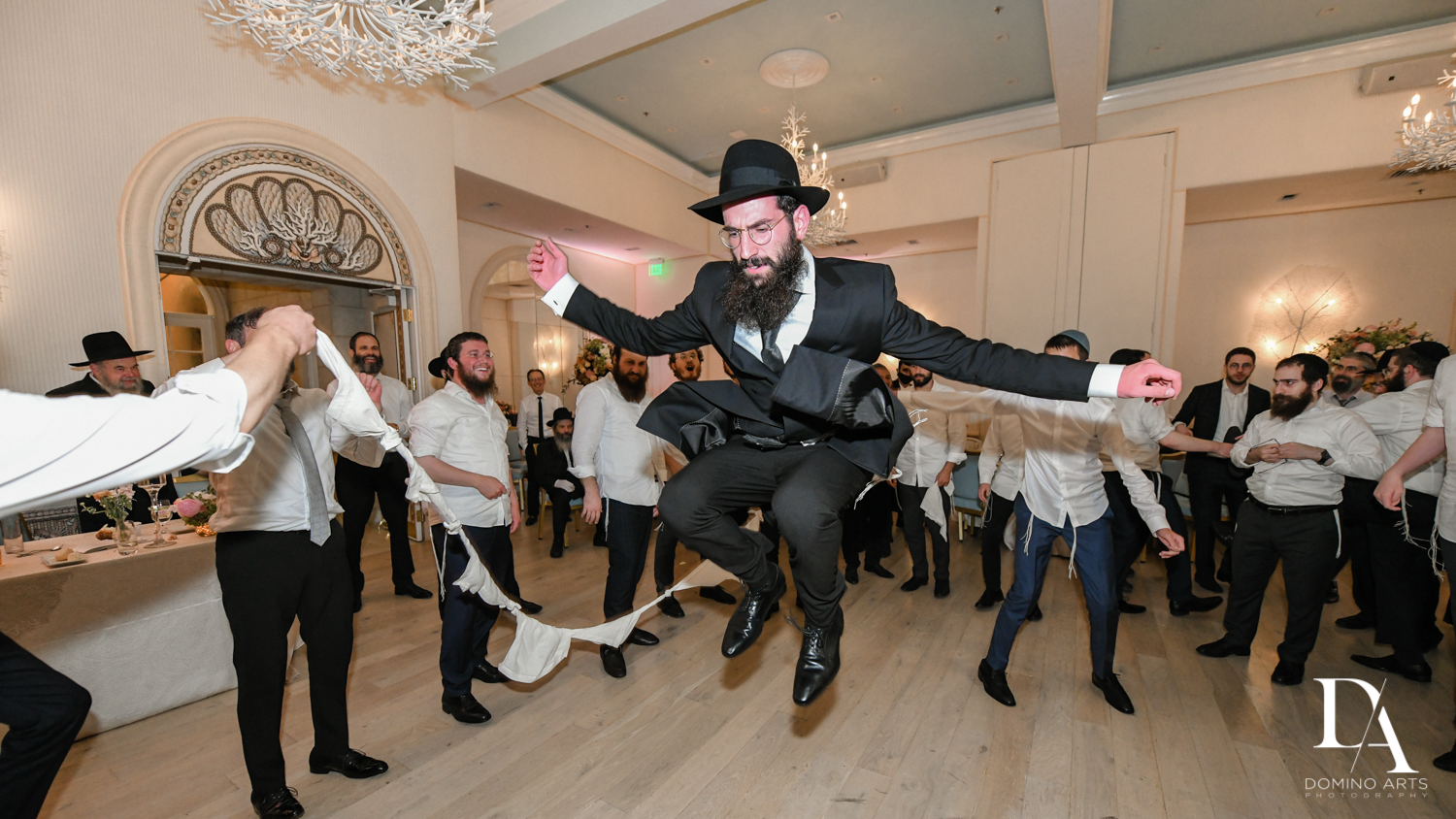 fun party pictures at Jewish Orthodox Wedding in Palm Beach by Domino Arts Photography