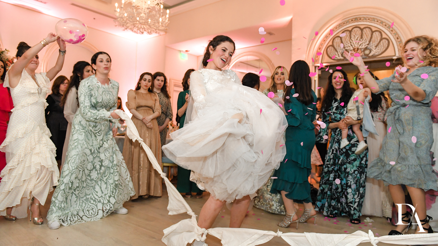 bride traditional dance at Jewish Orthodox Wedding in Palm Beach by Domino Arts Photography