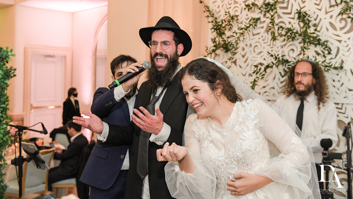 bride and groom party at Jewish Orthodox Wedding in Palm Beach by Domino Arts Photography