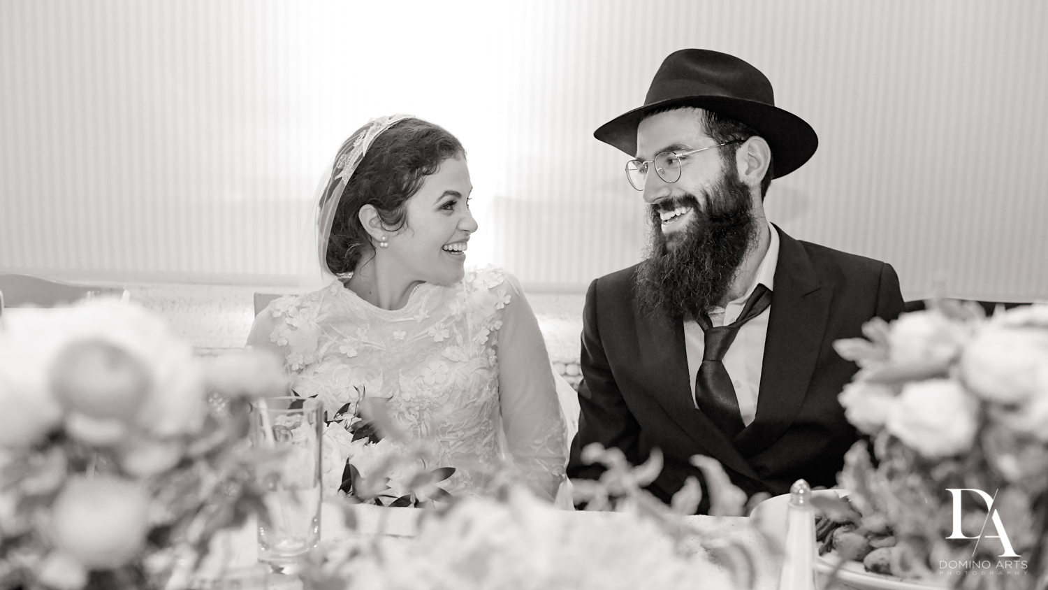 B&W photographer at Jewish Orthodox Wedding in Palm Beach by Domino Arts Photography