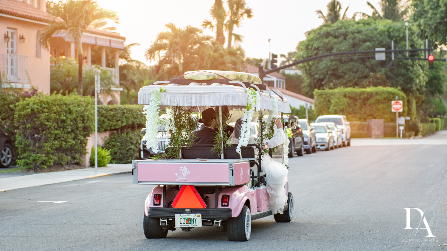 golf cart sunset at Jewish Orthodox Wedding in Palm Beach by Domino Arts Photography