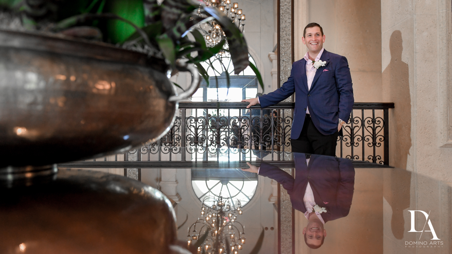 groom portrait at Beautiful Intimate Wedding at Mizner Country Club by Domino Arts Photography
