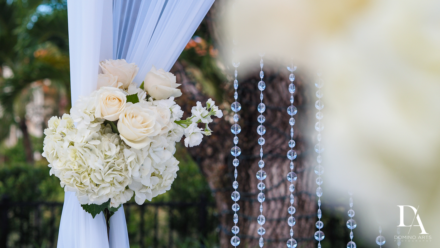chuppah flowers at Beautiful Intimate Wedding at Mizner Country Club by Domino Arts Photography