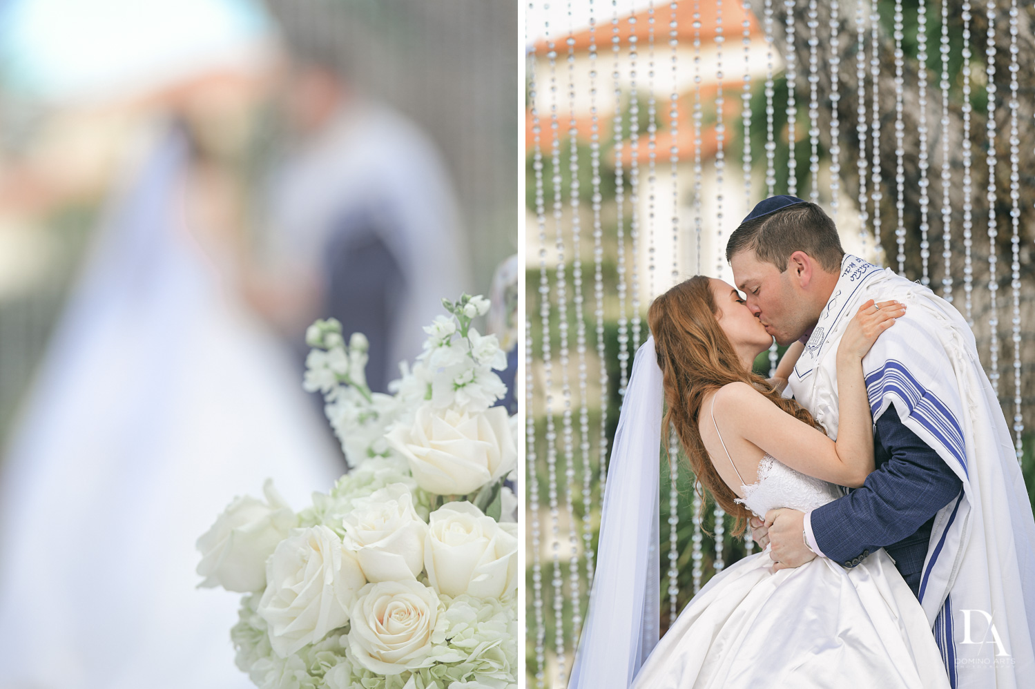 jewish bridal kiss at Beautiful Intimate Wedding at Mizner Country Club by Domino Arts Photography