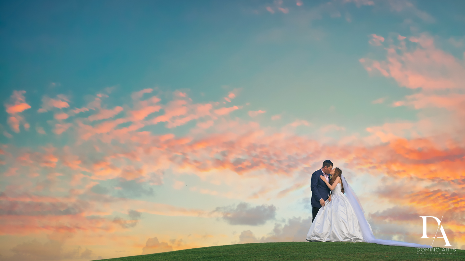 Sunset portrait at Beautiful Intimate Wedding at Mizner Country Club by Domino Arts Photography