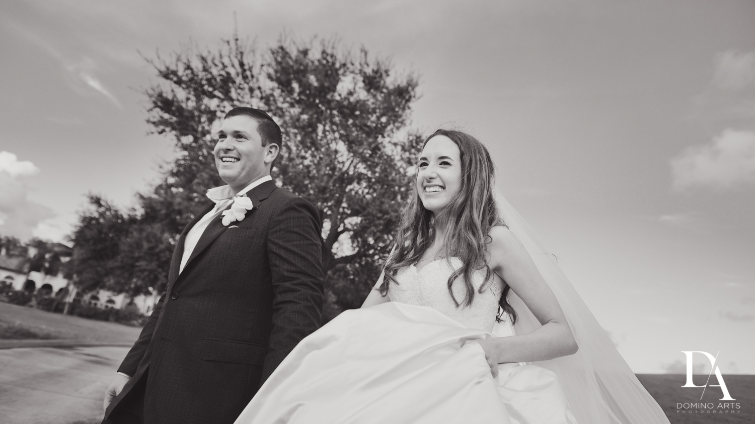 happy couple portraits at Beautiful Intimate Wedding at Mizner Country Club by Domino Arts Photography