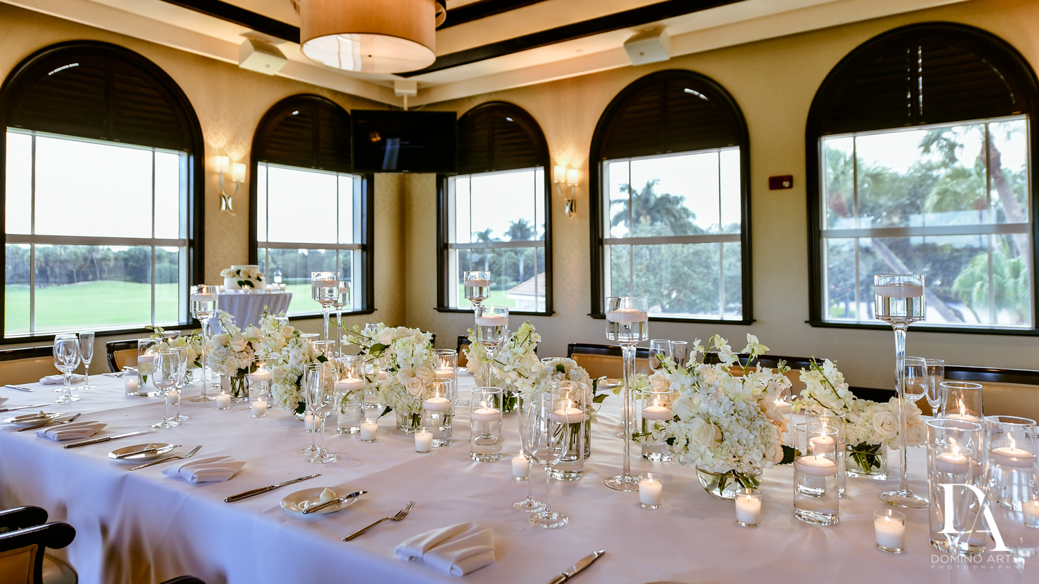 luxury table decor at Beautiful Intimate Wedding at Mizner Country Club by Domino Arts Photography