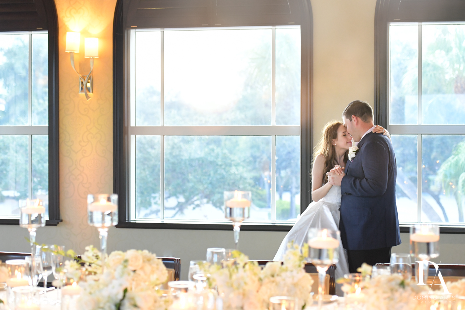 white decor at Beautiful Intimate Wedding at Mizner Country Club by Domino Arts Photography