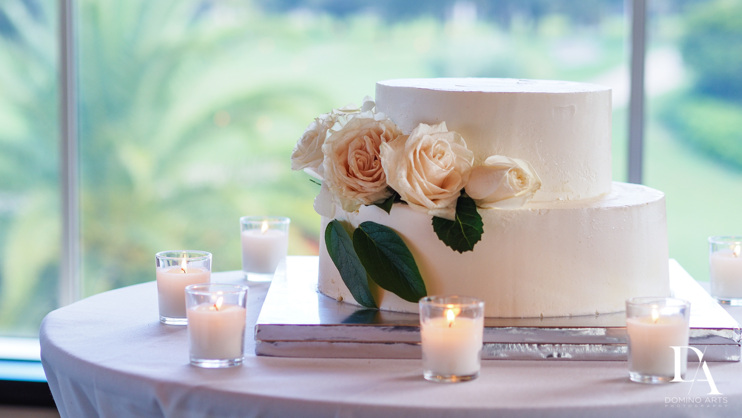Beautiful Intimate Wedding cake at Mizner Country Club by Domino Arts Photography