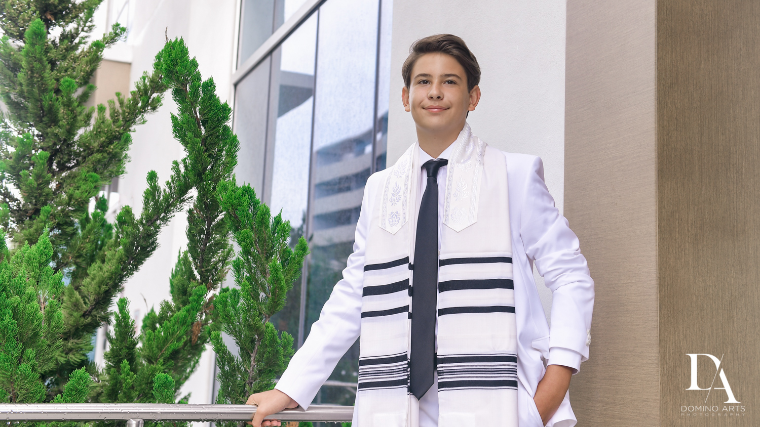 Monochrome Bar Mitzvah Ceremony at Aventura Chabad by Domino Arts Photography