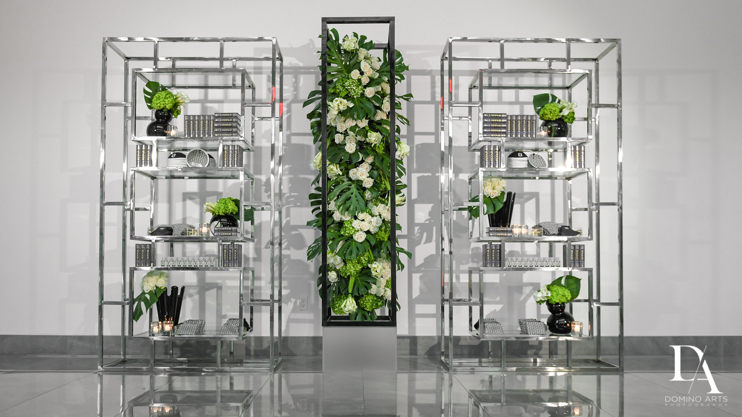 greenery decor at Monochrome Bar Mitzvah Ceremony at Aventura Chabad by Domino Arts Photography