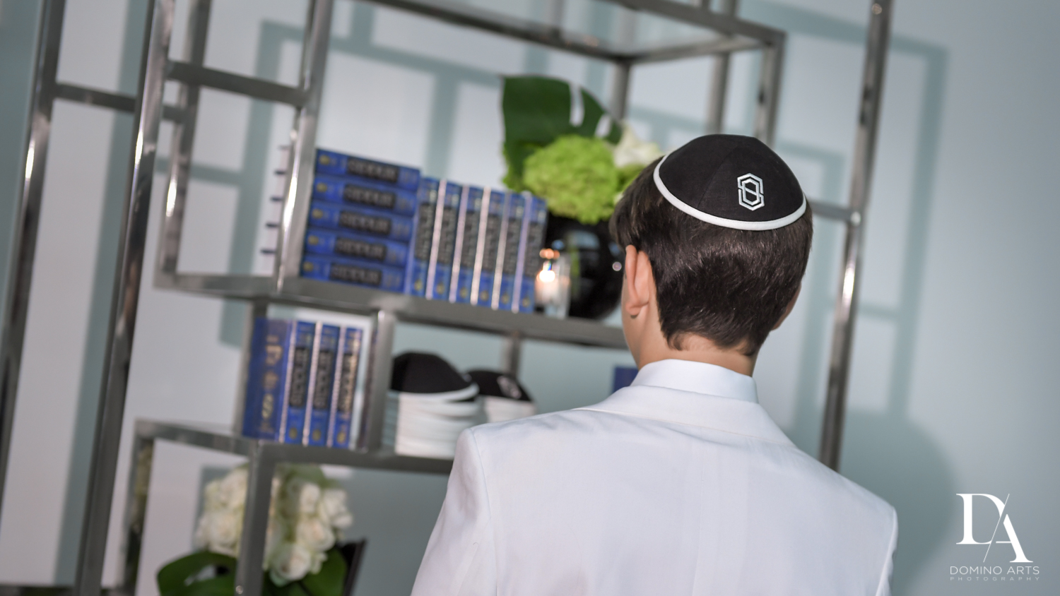 personalized kippah at Monochrome Bar Mitzvah Ceremony at Aventura Chabad by Domino Arts Photography