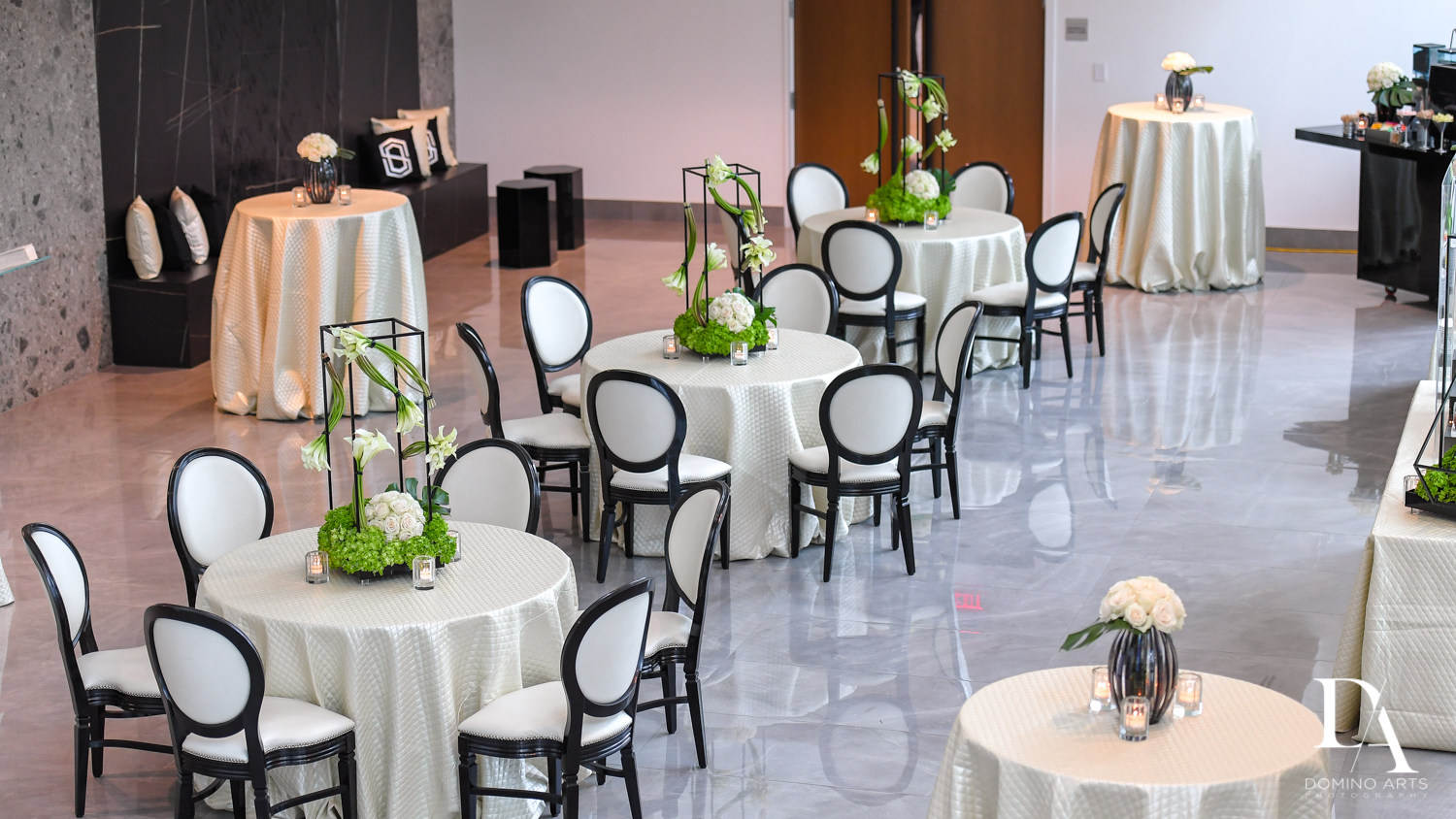 COVID set up at Monochrome Bar Mitzvah Ceremony at Aventura Chabad by Domino Arts Photography