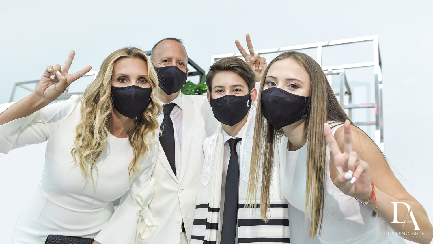 personalized masks for Monochrome Bar Mitzvah Ceremony at Aventura Chabad by Domino Arts Photography