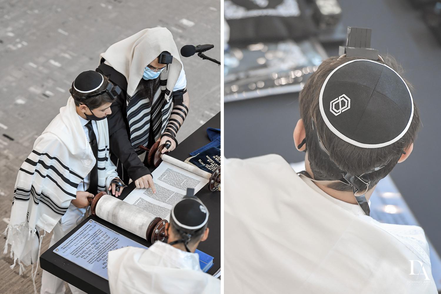 Reading Torah at COVID Bar Mitzvah at Ceremony at Aventura Chabad by Domino Arts Photography